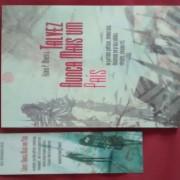 Fotografia da capa do livro e do marcador que seguirá de brinde.